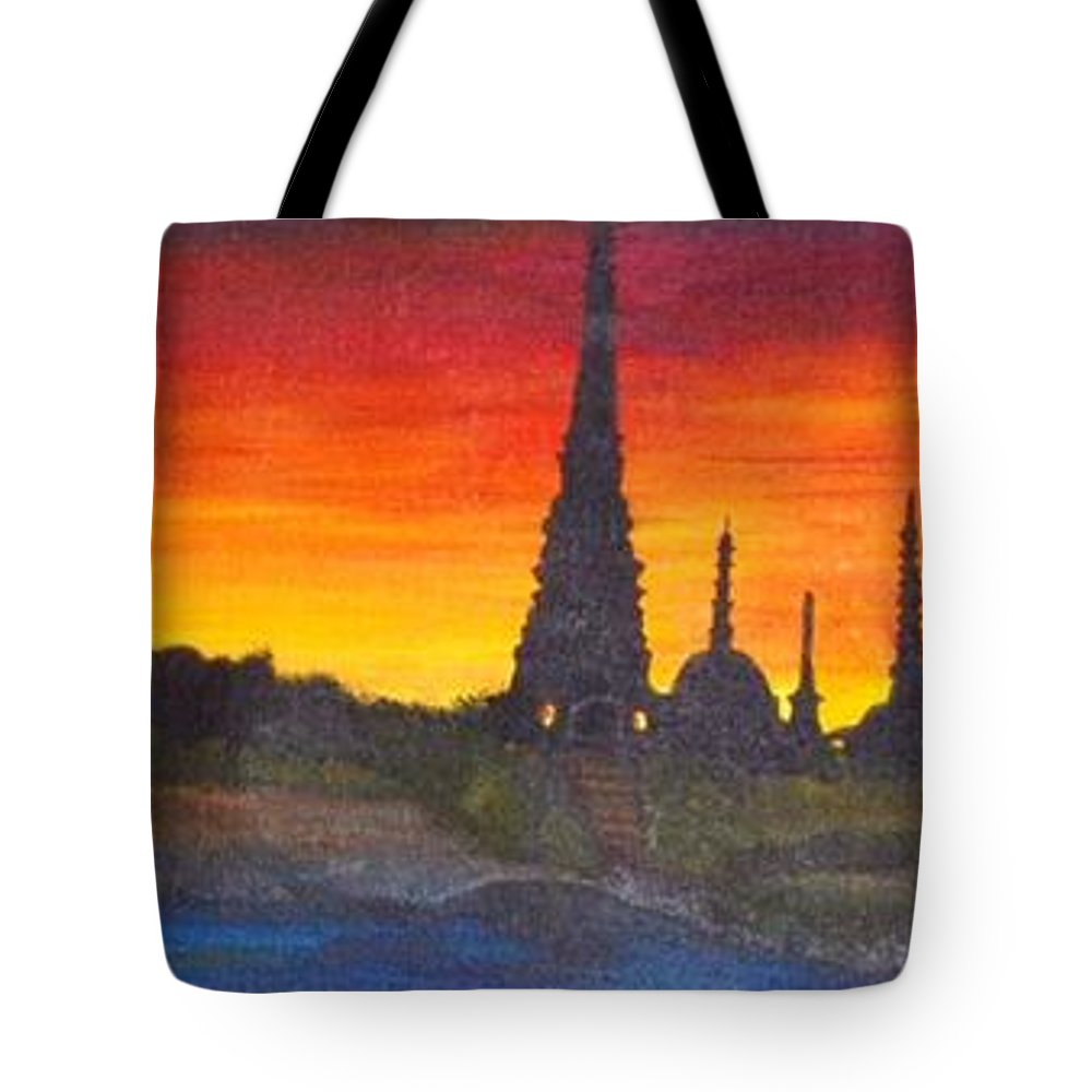 Panoramic Tote Bag featuring the painting By The Ganga by Shernaz Pochkhanawala