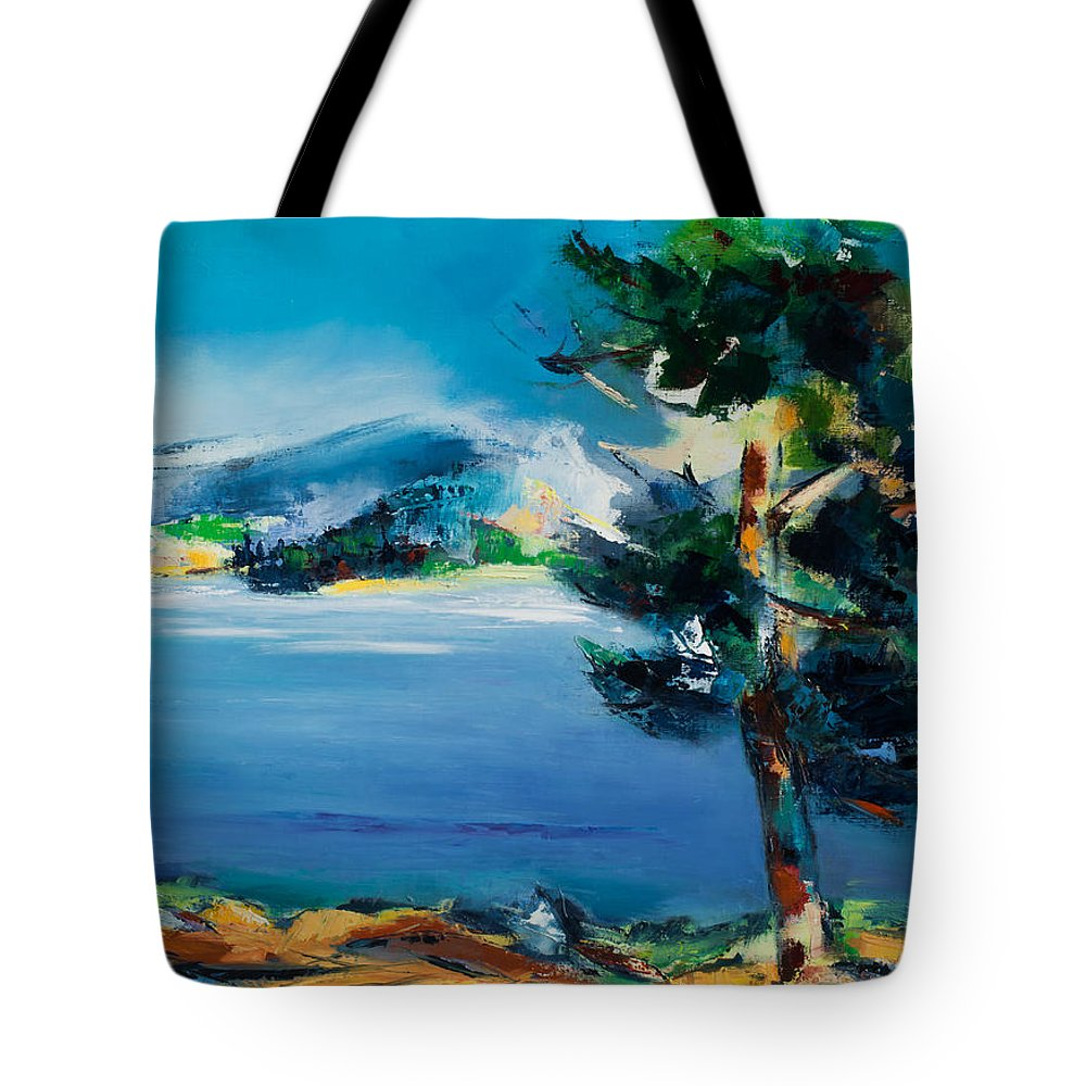 Landscape Nature Tote Bag featuring the painting By The Lake by Elise Palmigiani