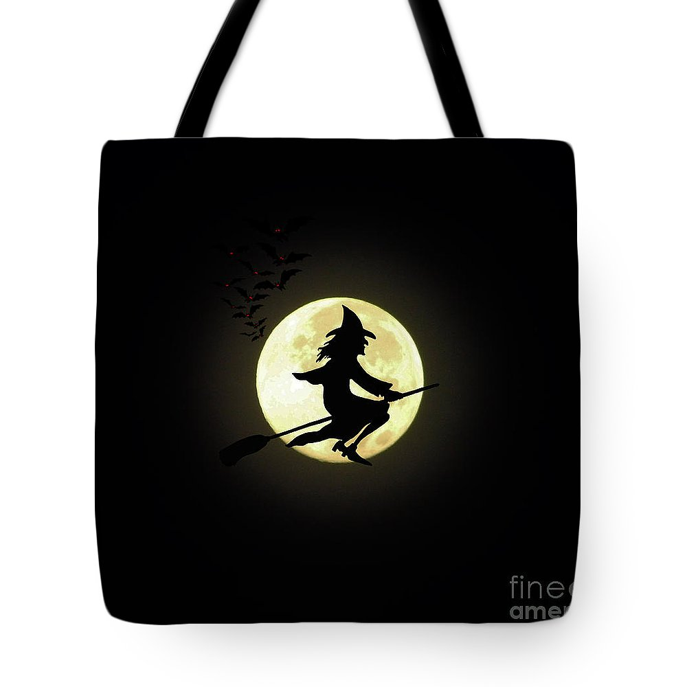 Witch Tote Bag featuring the digital art By The Light Of The Moon by D Hackett