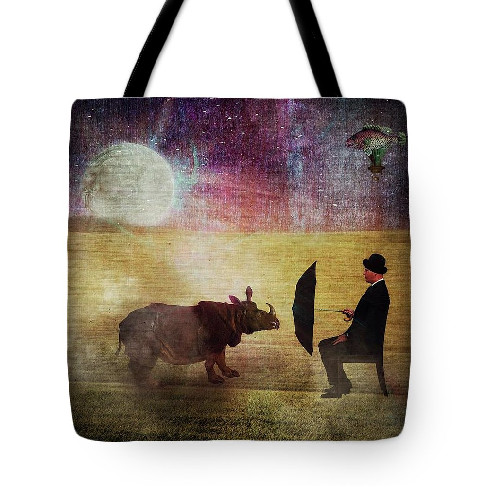 Alien Tote Bag featuring the digital art By The Light Of The Moon by Terry Fleckney