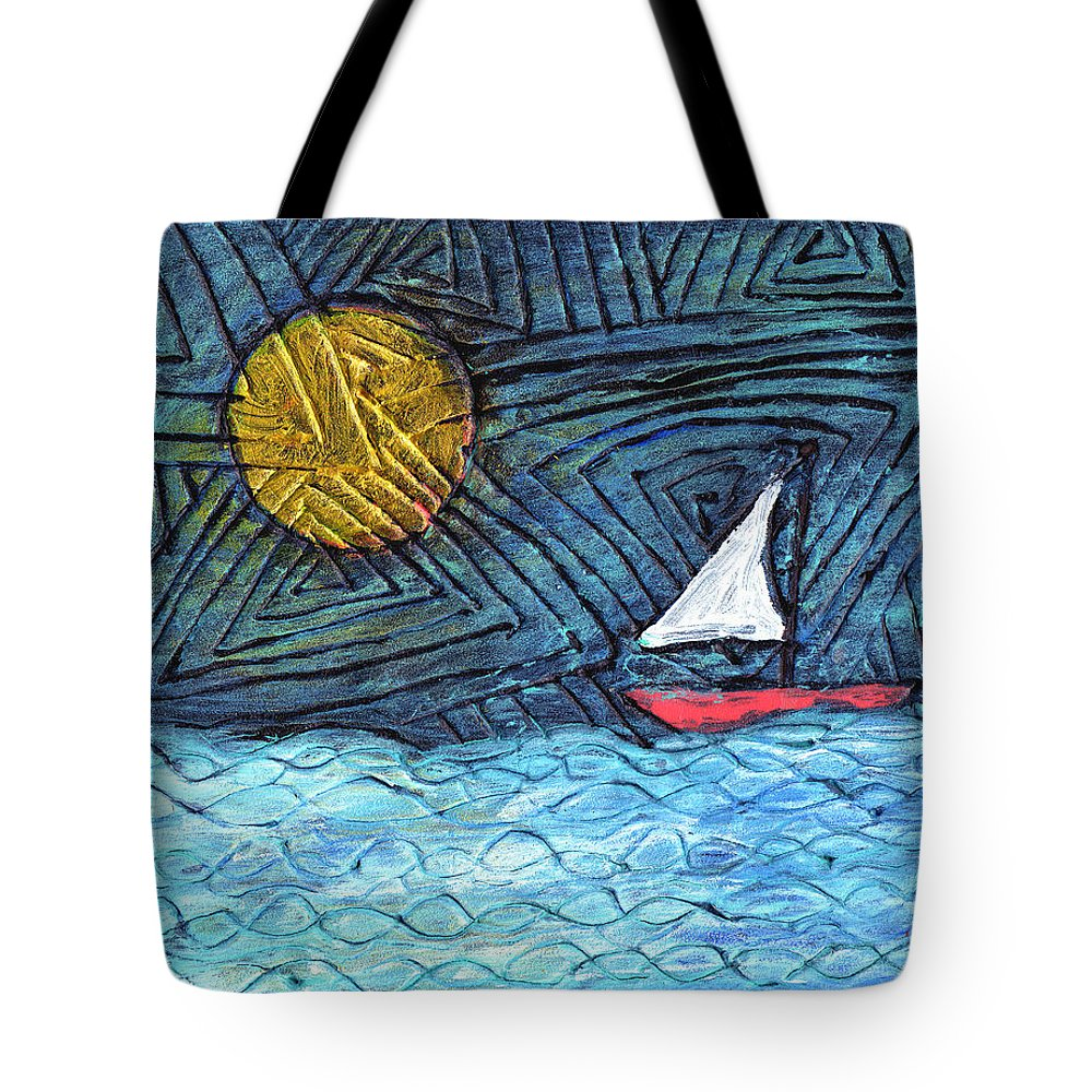 Sail Boat Tote Bag featuring the painting By The Light Of The Moon by Wayne Potrafka
