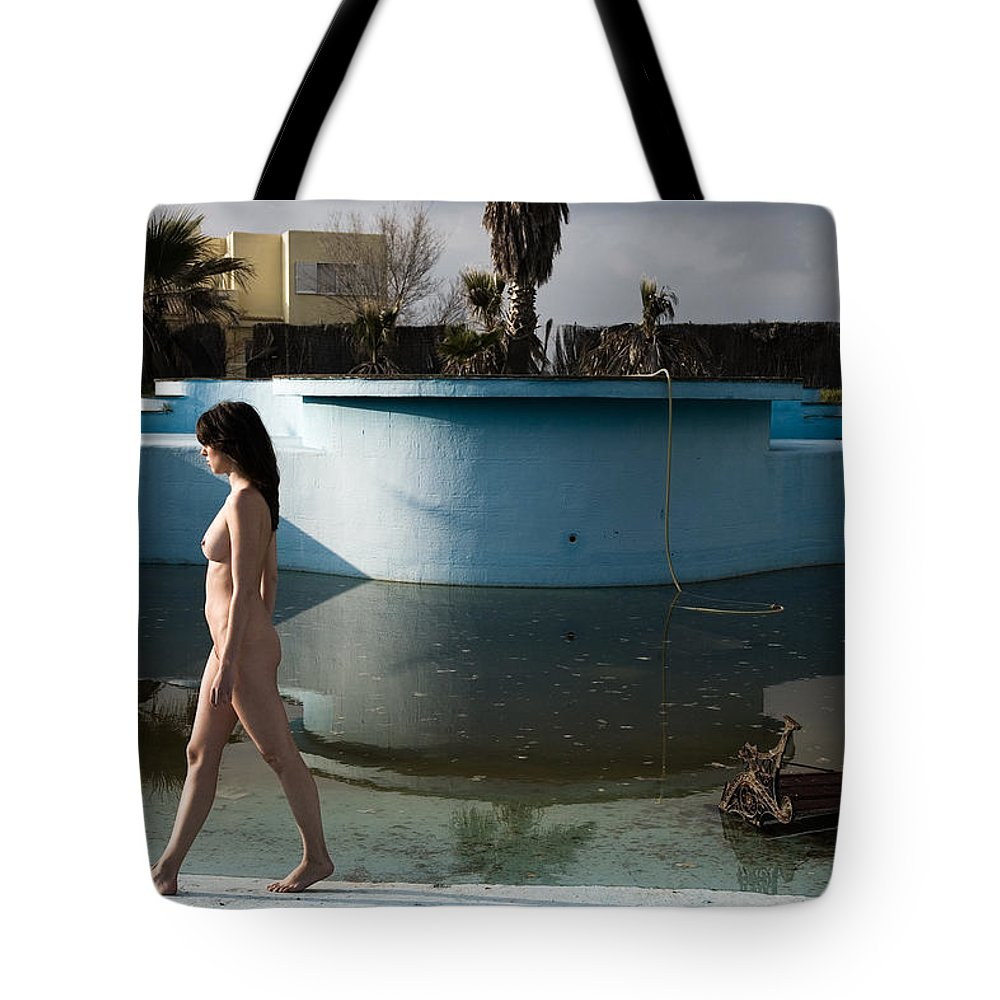 Nudes Tote Bag featuring the photograph By The Old Pool by Olivier De Rycke