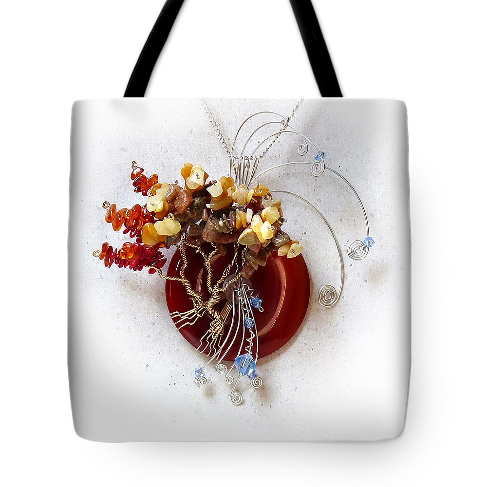 Sterling Silver Tote Bag featuring the sculpture By The Rapids by Rhonda Chase