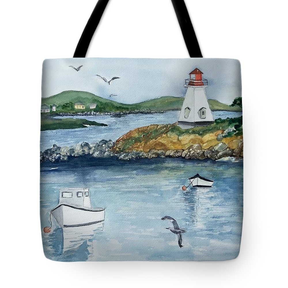 Water Scene Tote Bag featuring the painting By The Sea by Denise Mc Nellis