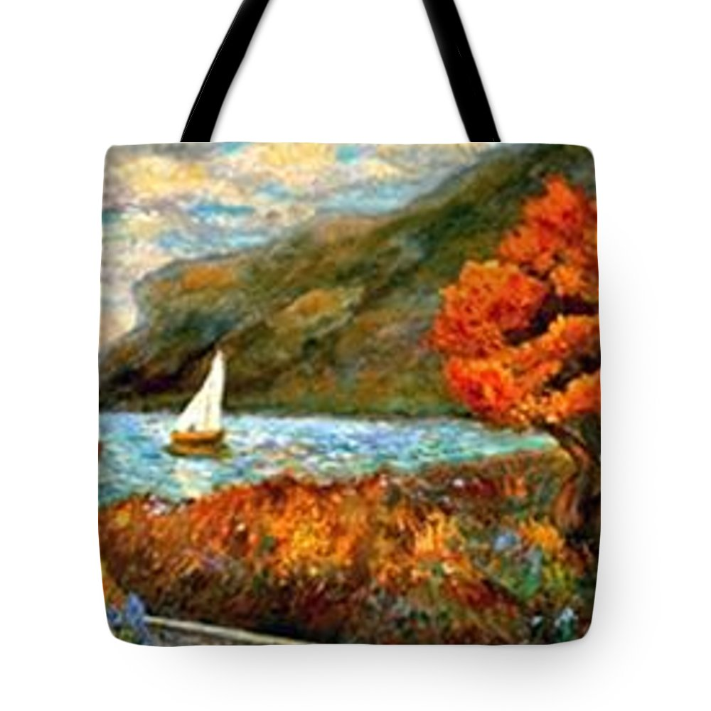 Sea Tote Bag featuring the painting By The Sea by Gail Kirtz