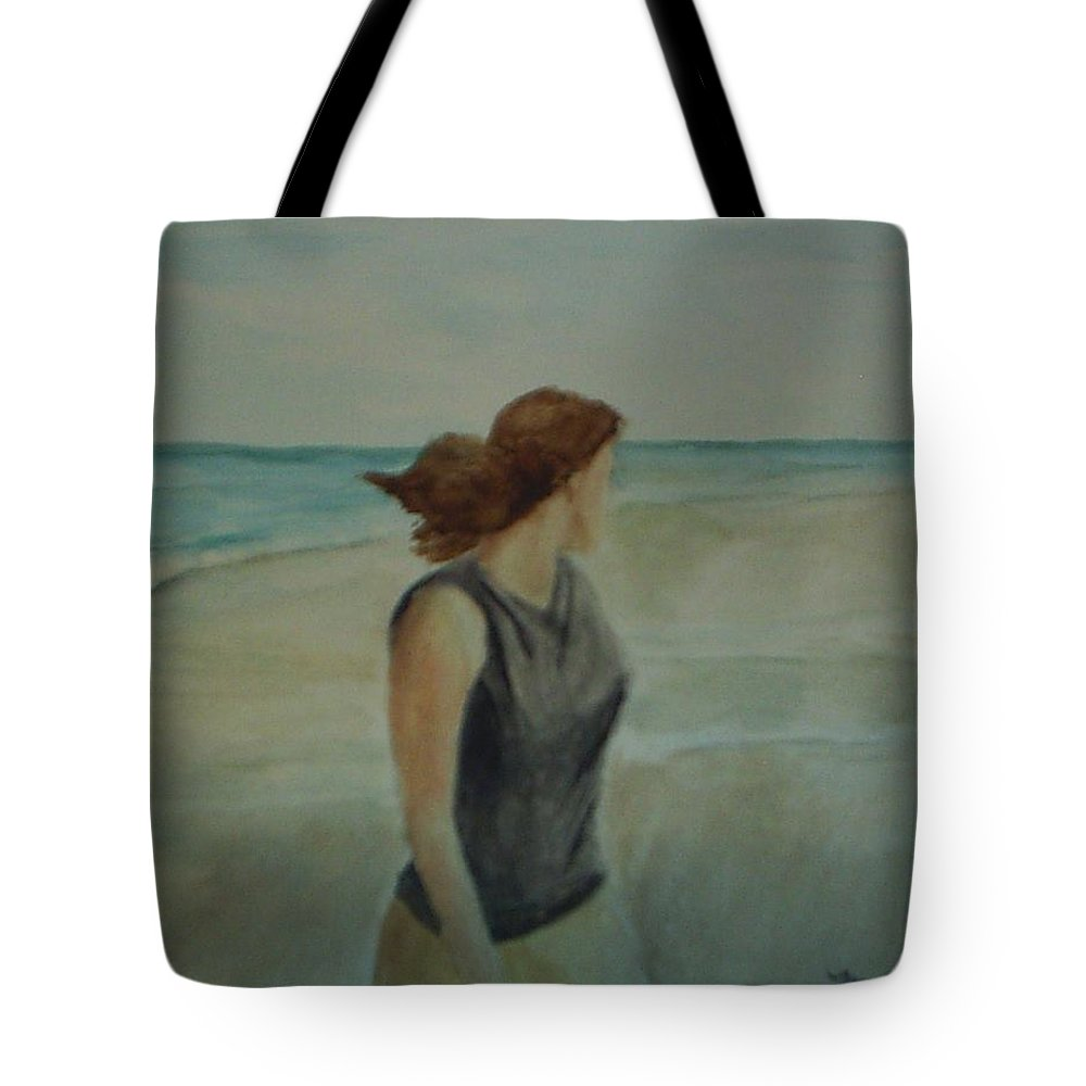 Ocean Tote Bag featuring the painting By The Sea by Sheila Mashaw