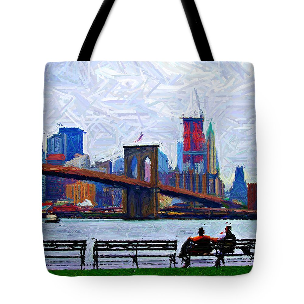 Brooklyn Tote Bag featuring the digital art By The Water Too Sketch by Randy Aveille