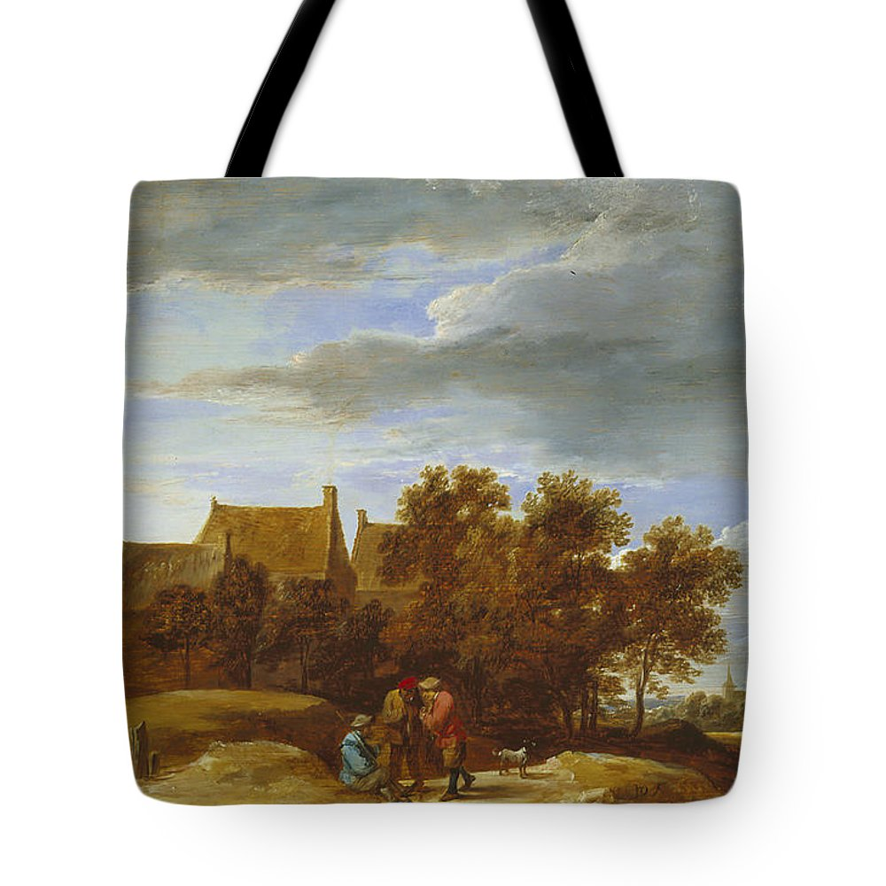 17th Century Art Tote Bag featuring the painting By The Wayside by David Teniers the Younger