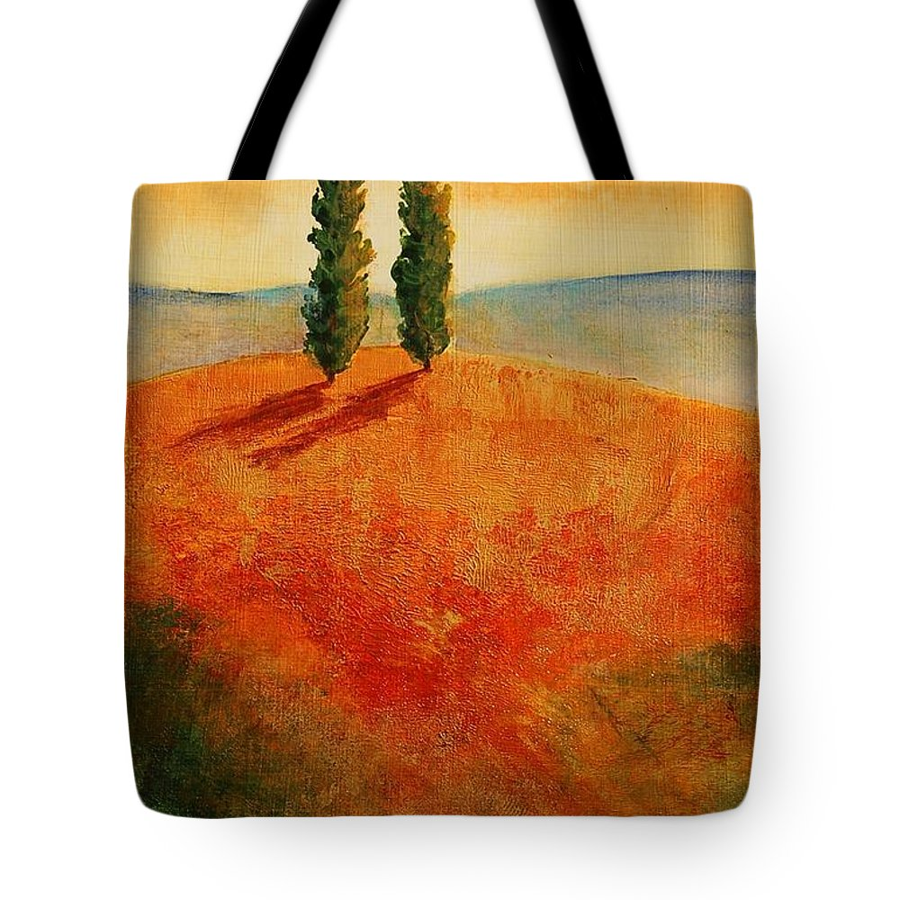 Trees Tote Bag featuring the painting By Your Side by Lynee Sapere