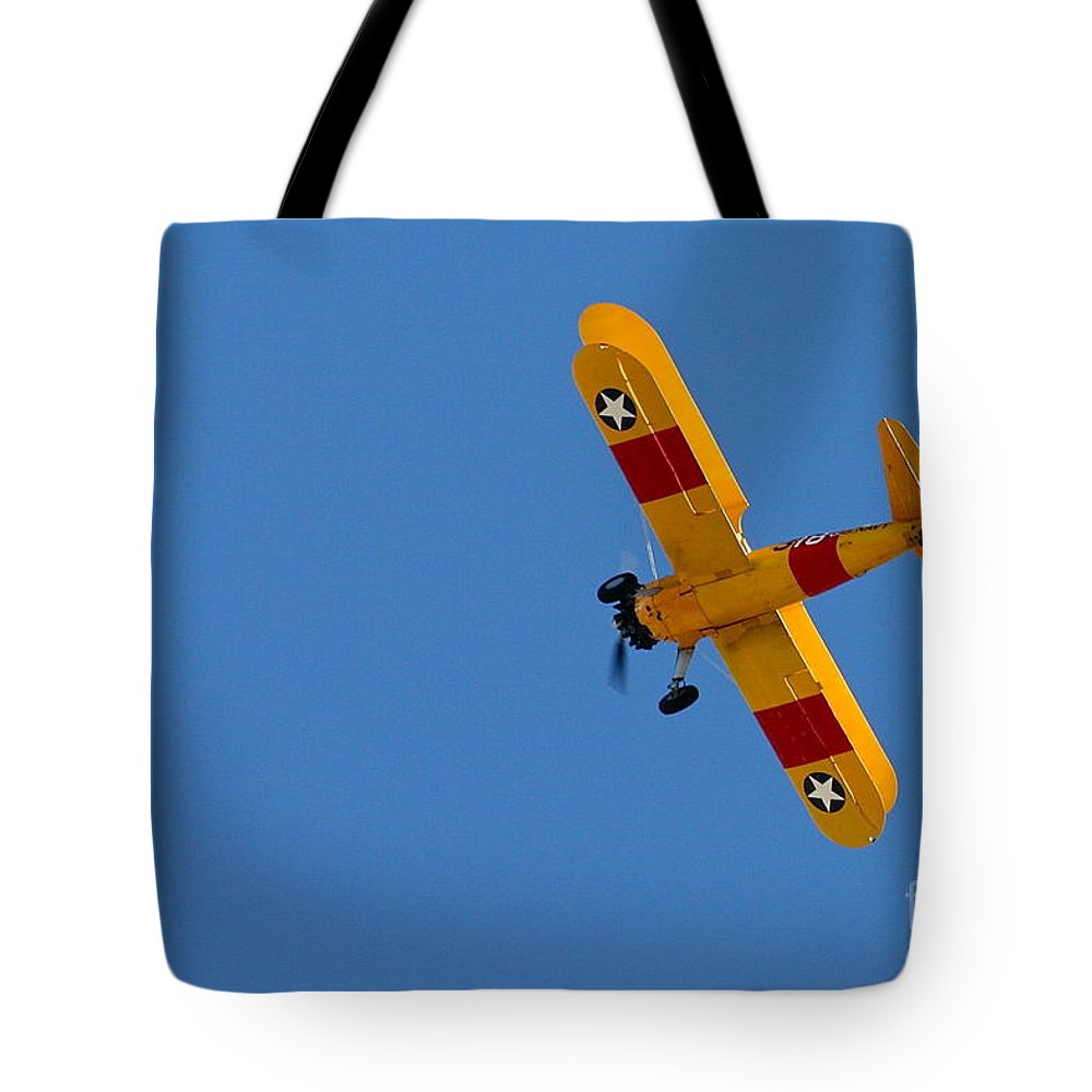 Aircraft Tote Bag featuring the photograph Bye Bye Biplane by Rick Monyahan