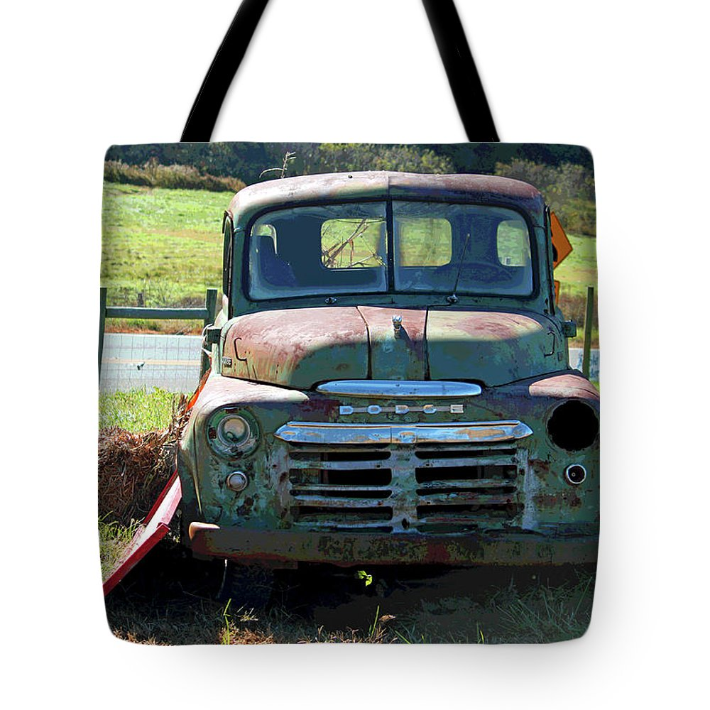 Dodge Tote Bag featuring the photograph Bygone Dodge by Suzanne Gaff