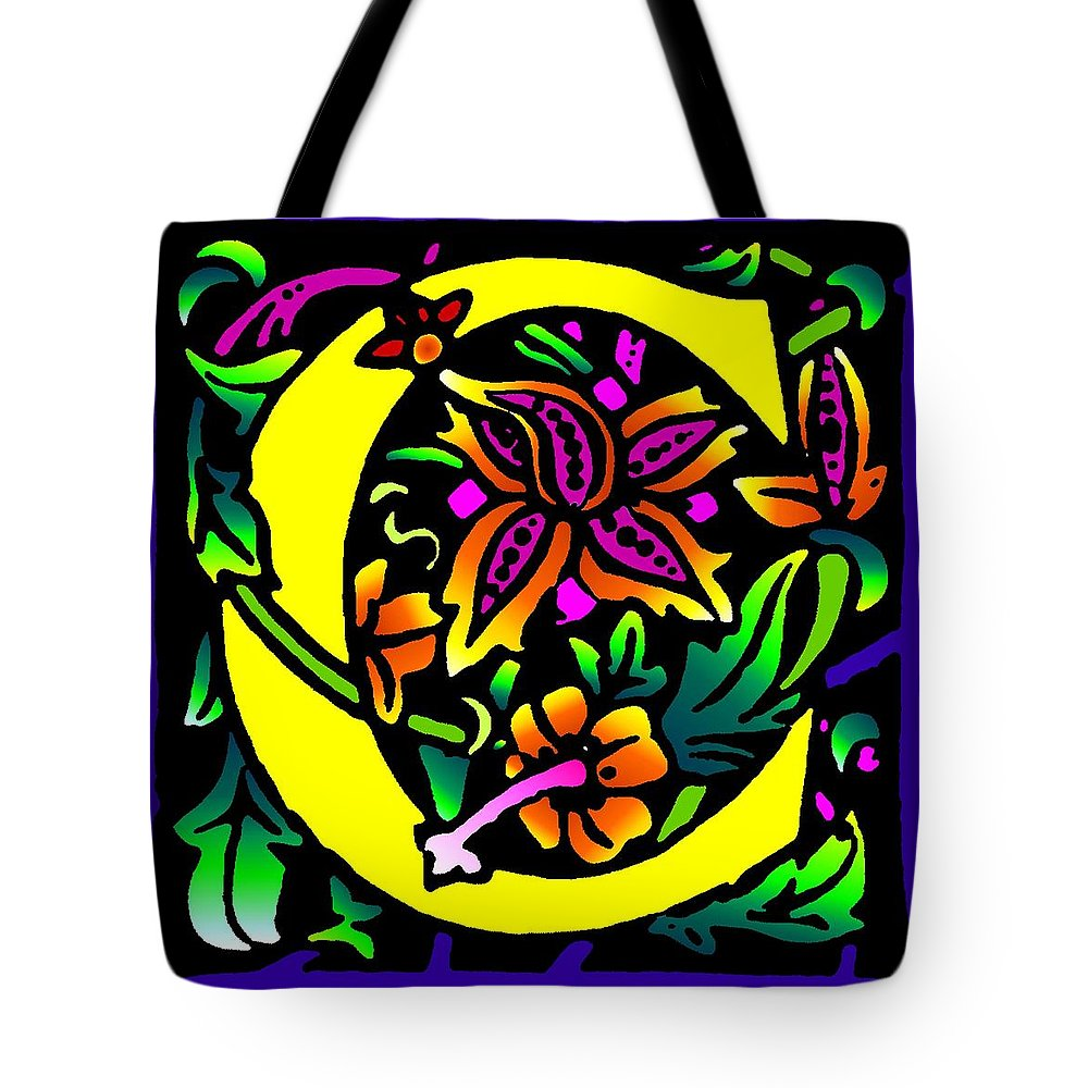 Alphabet Tote Bag featuring the digital art C In Yellow by Kathleen Sepulveda
