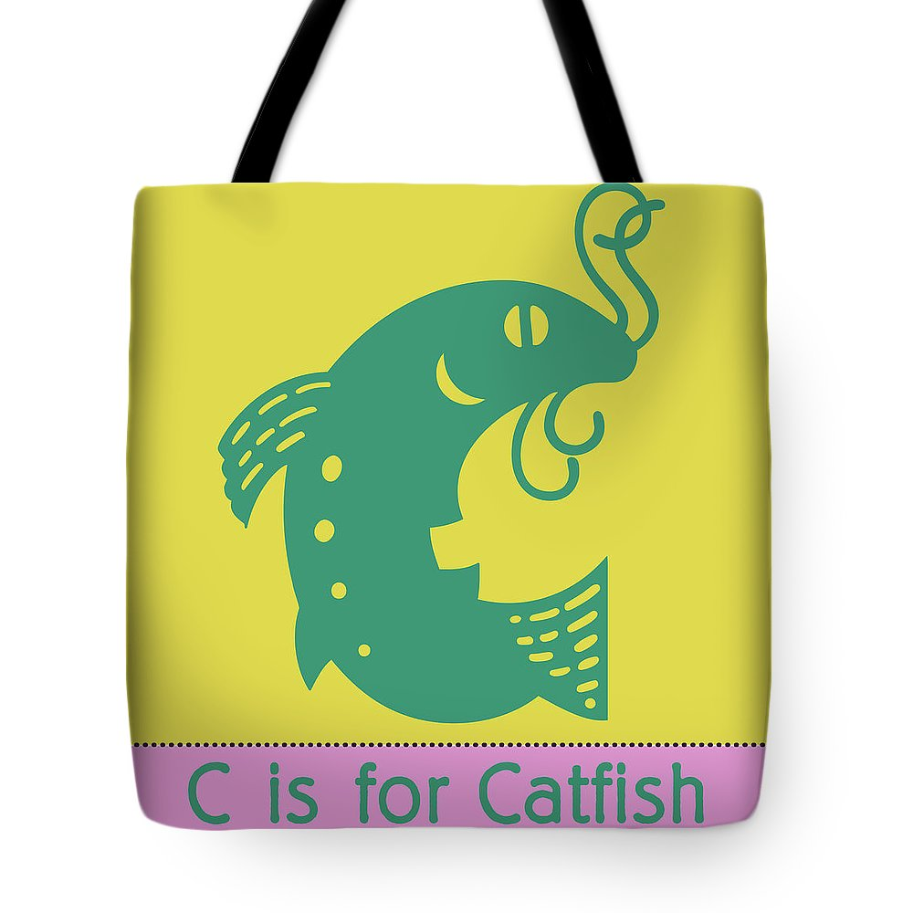C Is For Catfish Tote Bag featuring the digital art C Is For Catfish Kids Animal Alphabet by Sandra McGinley
