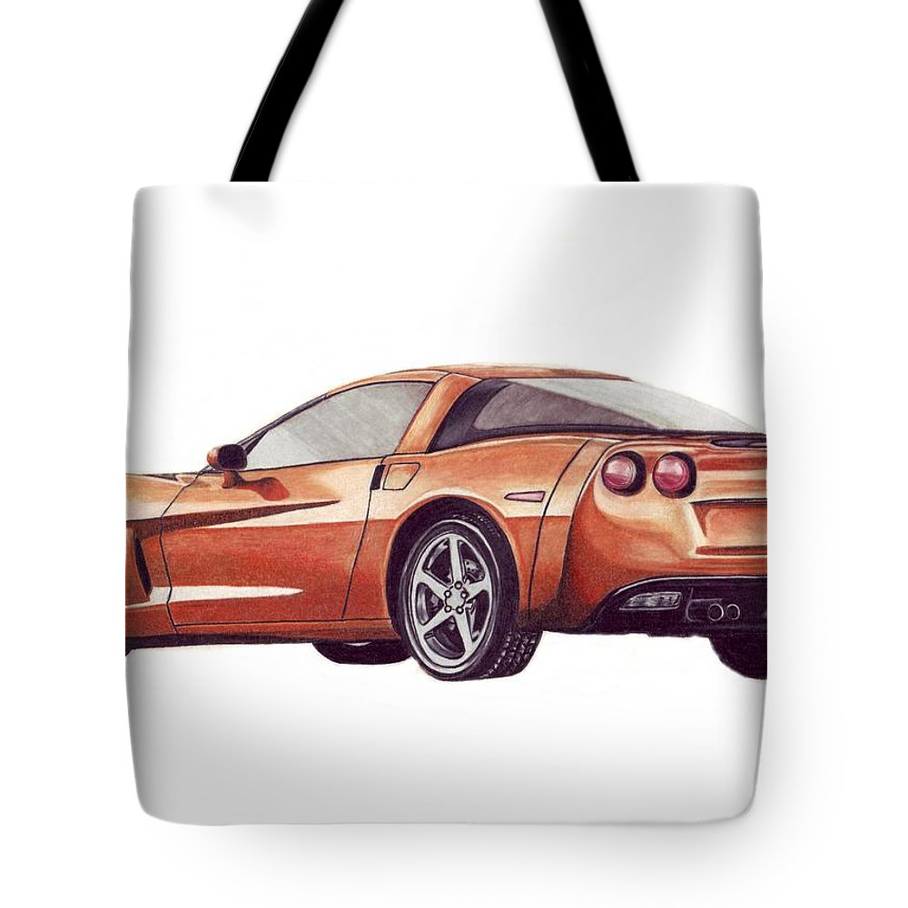 Corvette Tote Bag featuring the drawing C6 by Kristen Wesch