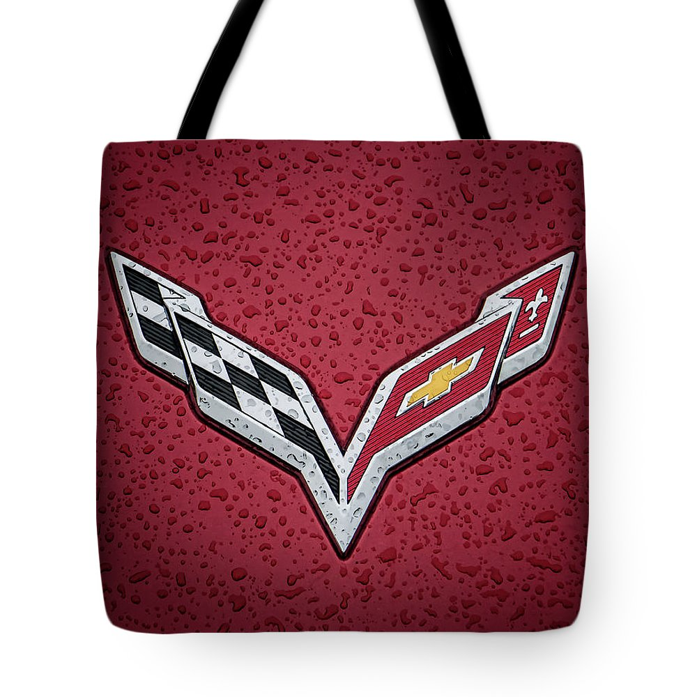 Corvette Tote Bag featuring the digital art C7 Badge Red by Douglas Pittman
