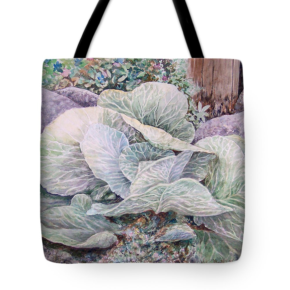 Leaves Tote Bag featuring the painting Cabbage Head by Valerie Meotti