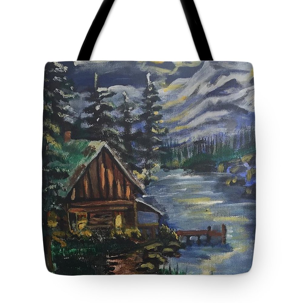 Cabin Tote Bag featuring the painting Cabin In The Mountains by Julie Thomas-Zucker