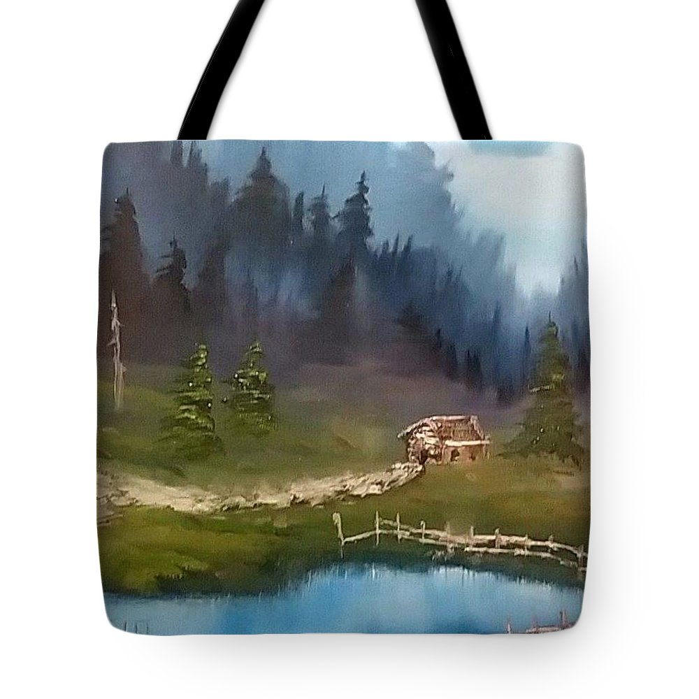 Cabin Tote Bag featuring the painting Cabin Retreat by Michael Signorelli