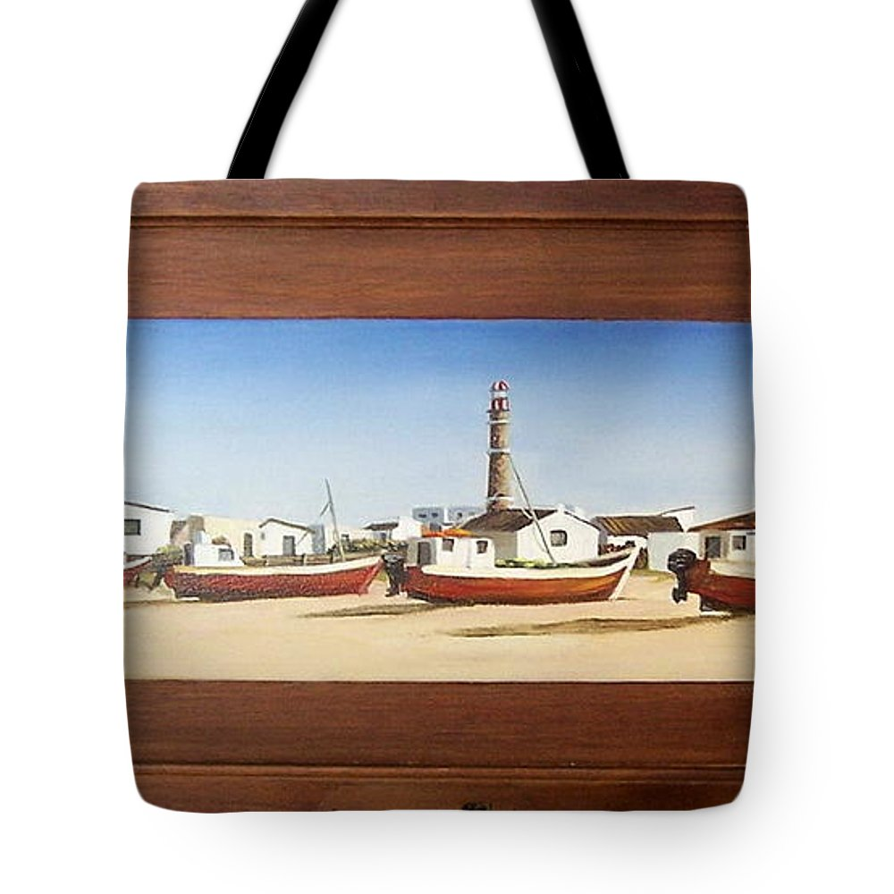 Landscape Seascape Uruguay Beach Boats Sea Lighthouse Tote Bag featuring the painting Cabo Polonio 2 by Natalia Tejera