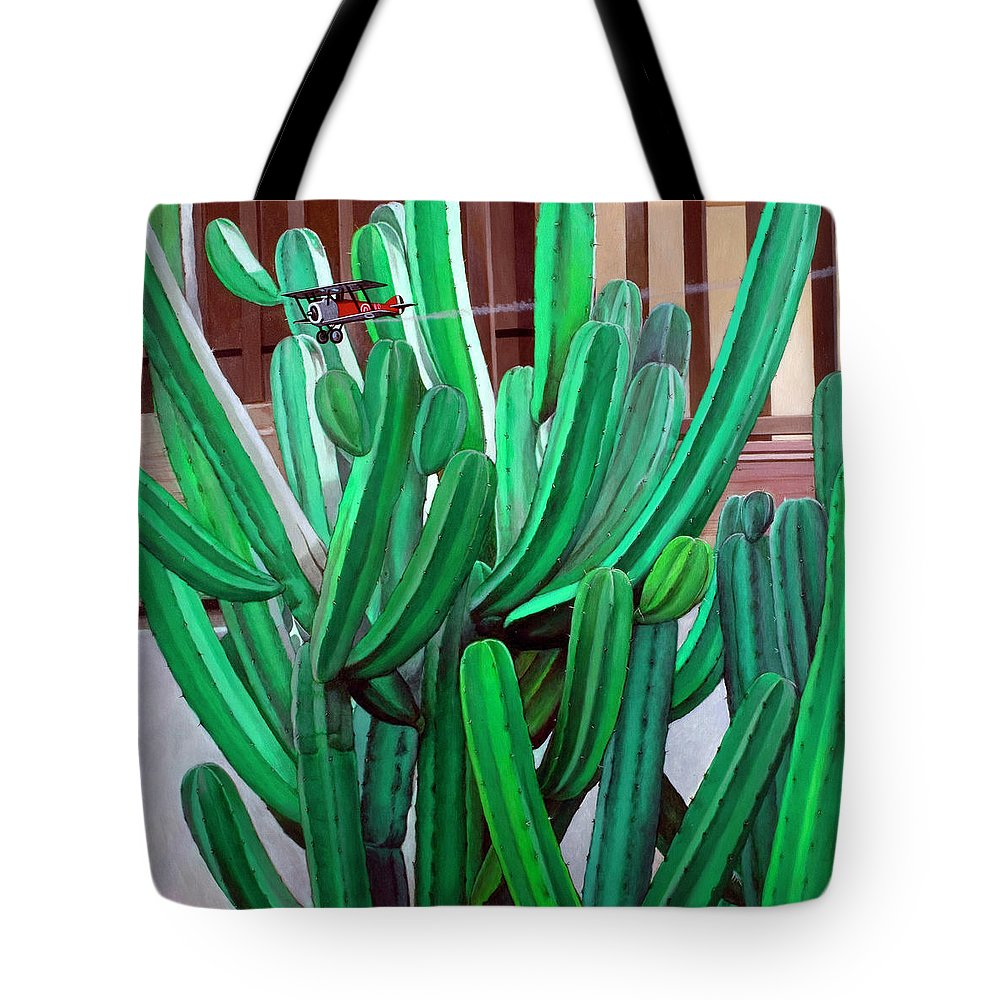 Landscape Tote Bag featuring the painting Cactus Fly By by Snake Jagger