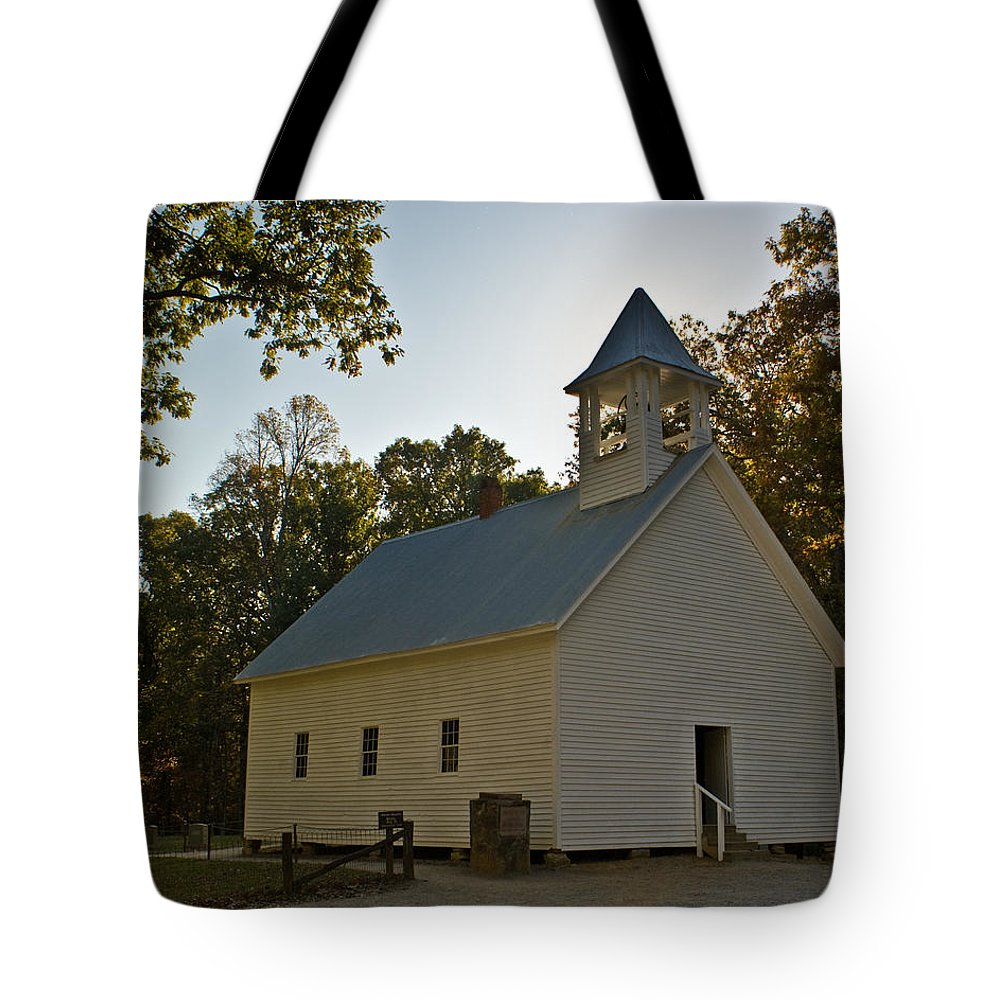 Cades Tote Bag featuring the photograph Cades Cove Methodist Church Aglow by Douglas Barnett