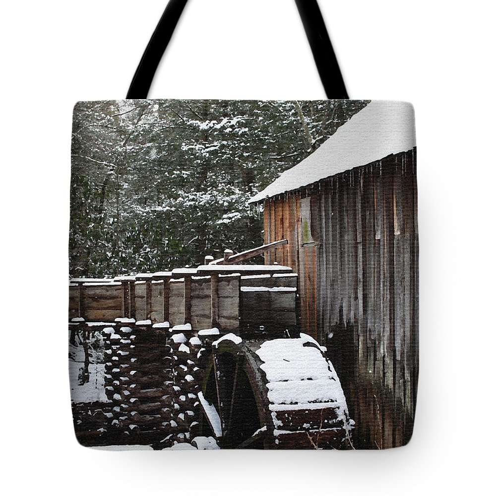 Smoky Mountains Tote Bag featuring the photograph Cades Cove Mill II by Margie Wildblood