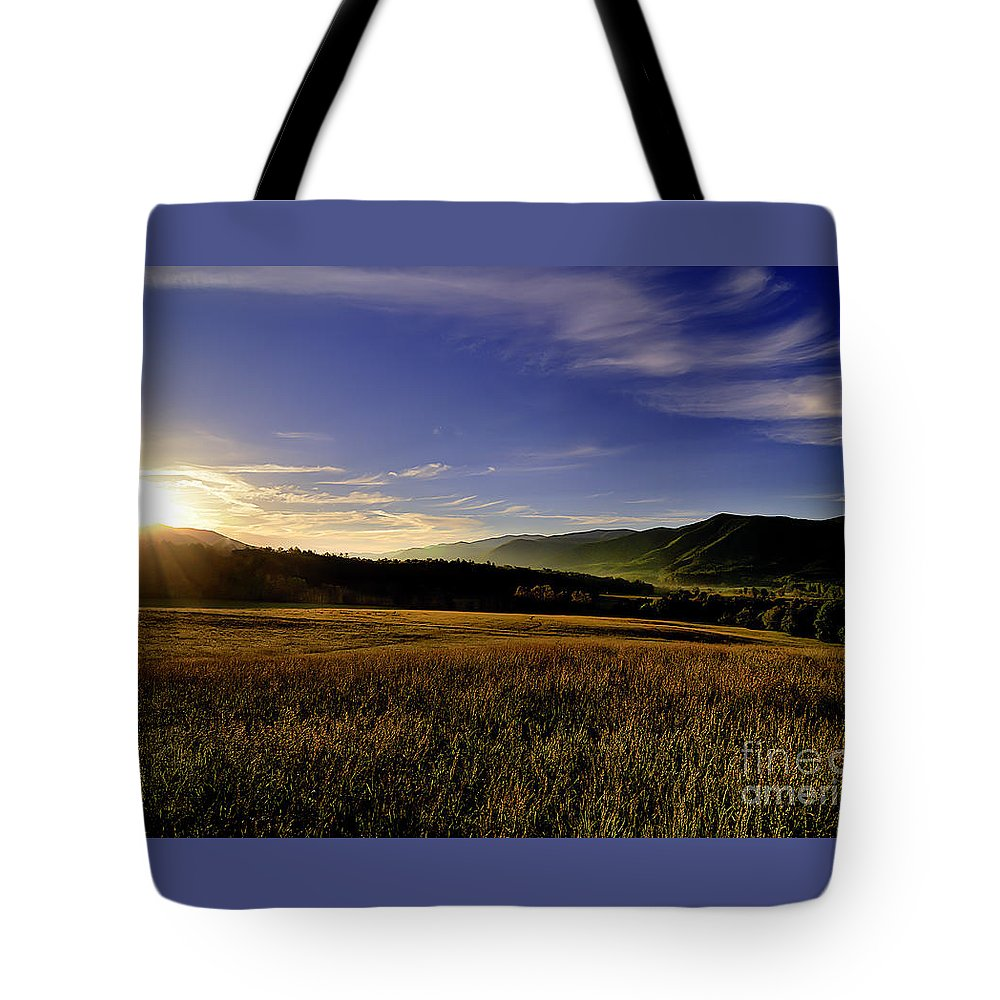 Cades Cove Tote Bag featuring the photograph Cades Cove Sunrise by Tress Chapin