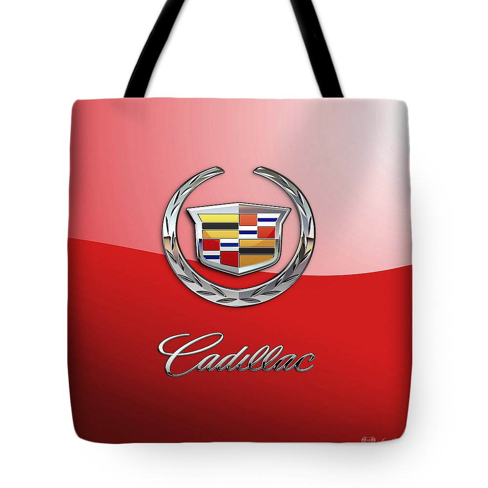�wheels Of Fortune� Collection By Serge Averbukh Tote Bag featuring the photograph Cadillac - 3 D Badge on Red by Serge Averbukh