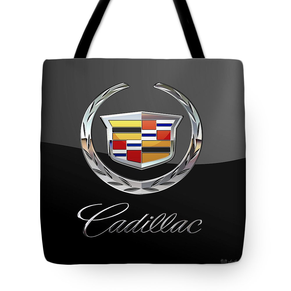 'wheels Of Fortune' By Serge Averbukh Tote Bag featuring the photograph Cadillac - 3 D Badge On Black by Serge Averbukh