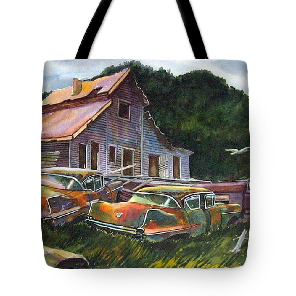 Cadillacs Tote Bag featuring the painting Cadillac Ranch by Ron Morrison