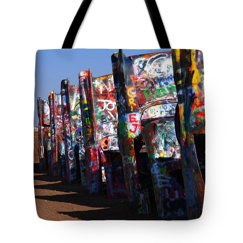 Photography Tote Bag featuring the photograph Cadillac Ranch Route 66 by Susanne Van Hulst