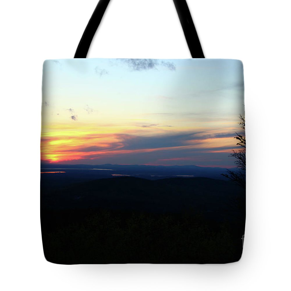 Landscape Tote Bag featuring the photograph Cadillac Sunset by Nicole Engelhardt