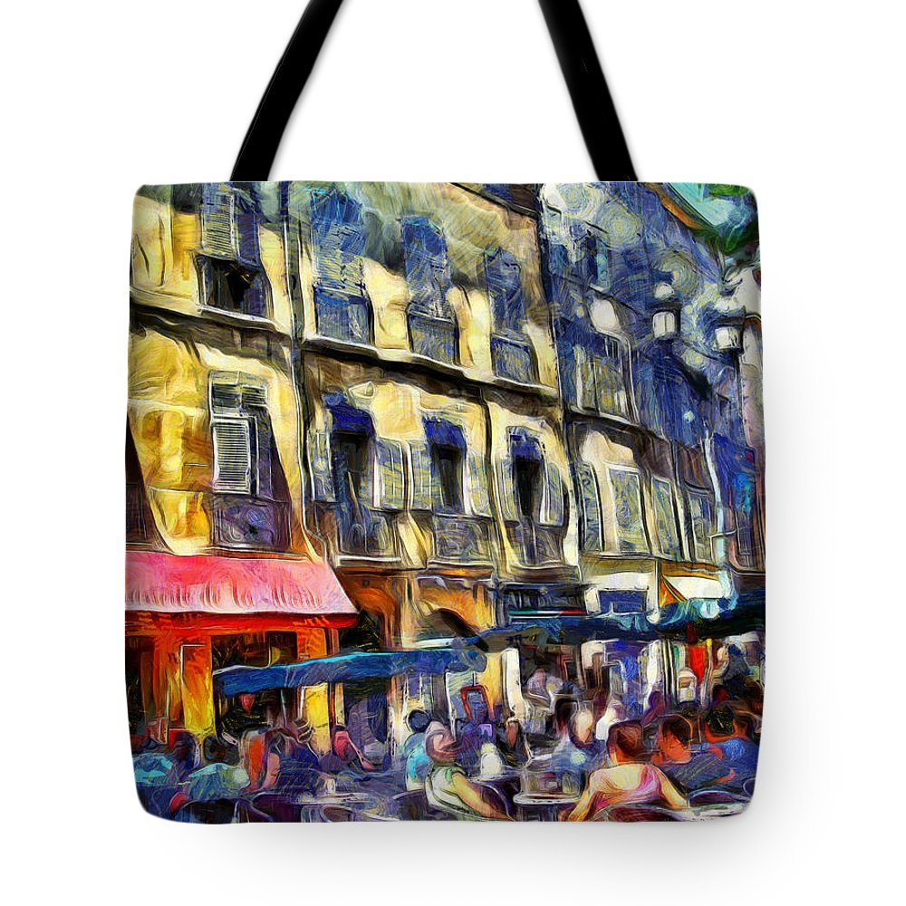 Cafes Tote Bag featuring the photograph Cafe 2 Provence by PhotoArt By Gretchen