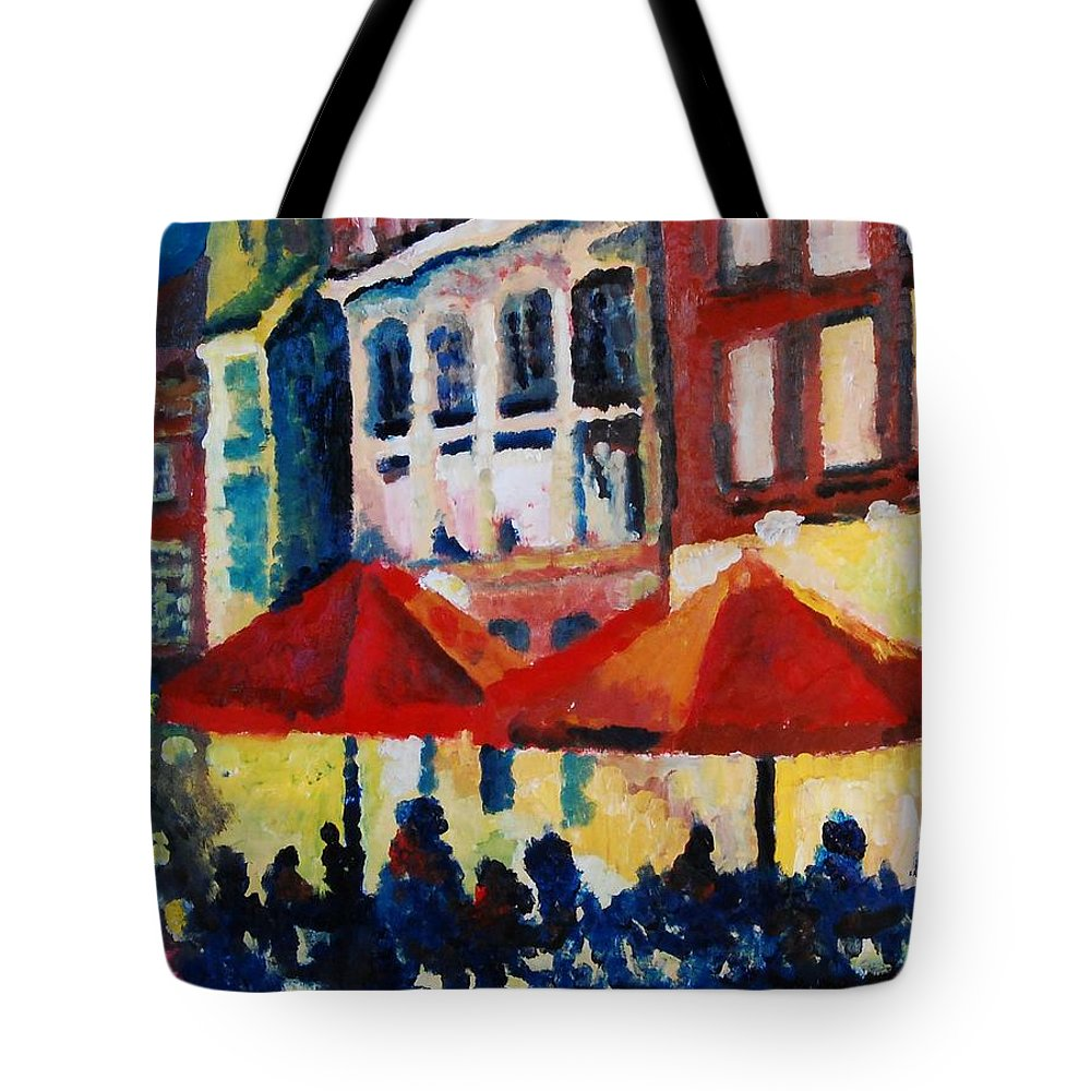 Cafe Tote Bag featuring the painting Cafe Al Fresca by Lauren Luna
