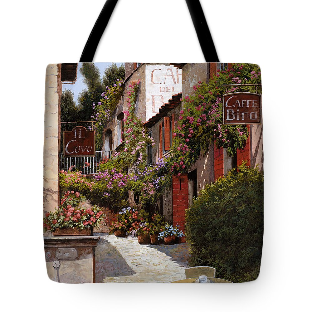 Cafe Tote Bag featuring the painting Cafe Bifo by Guido Borelli