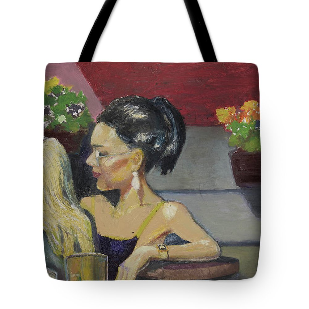 Two Women Tote Bag featuring the painting Cafe Commune by Craig Newland
