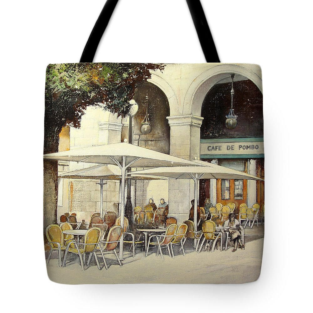 Cafe Tote Bag featuring the painting Cafe de Pombo-Santander by Tomas Castano