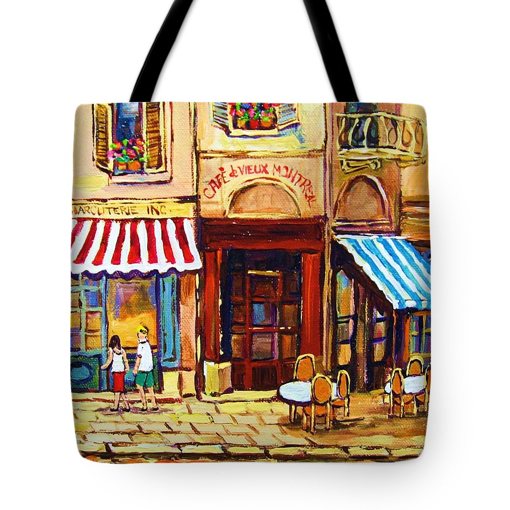 Old Montreal Outdoor Cafe City Scenes Tote Bag featuring the painting Cafe De Vieux Montreal With Couple by Carole Spandau