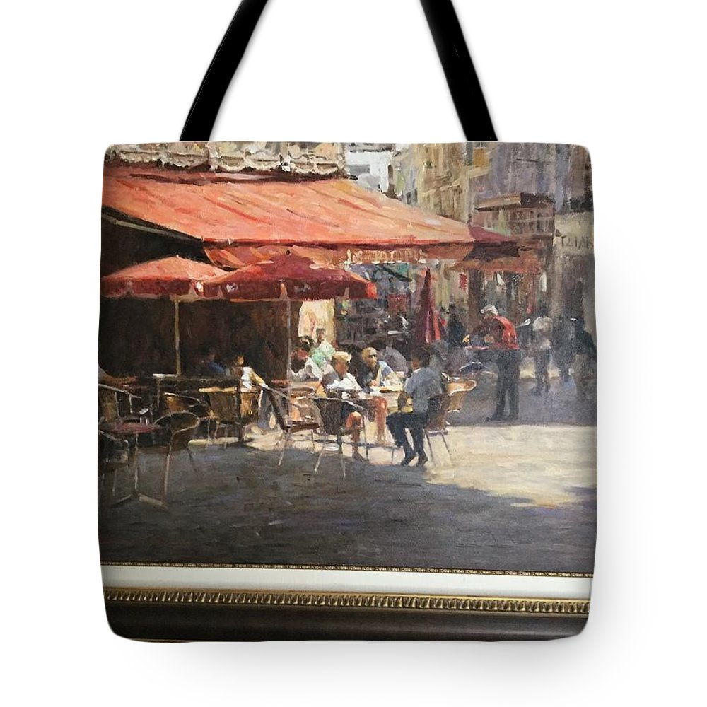Original Oil.  Cafe Et Pasteries. Leonard Wren Tote Bag featuring the painting Cafe Et Pasteries by Leonard Wren