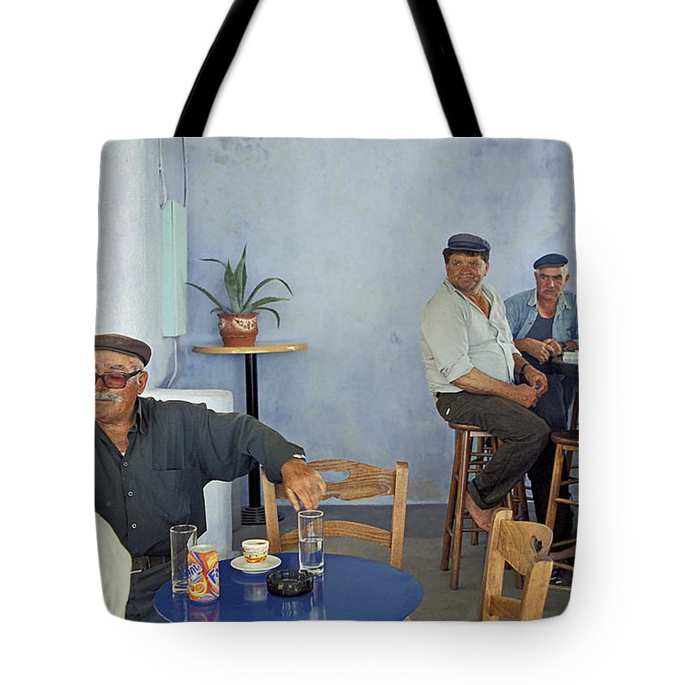 Greece Tote Bag featuring the photograph Cafe In Greece by Madeline Ellis