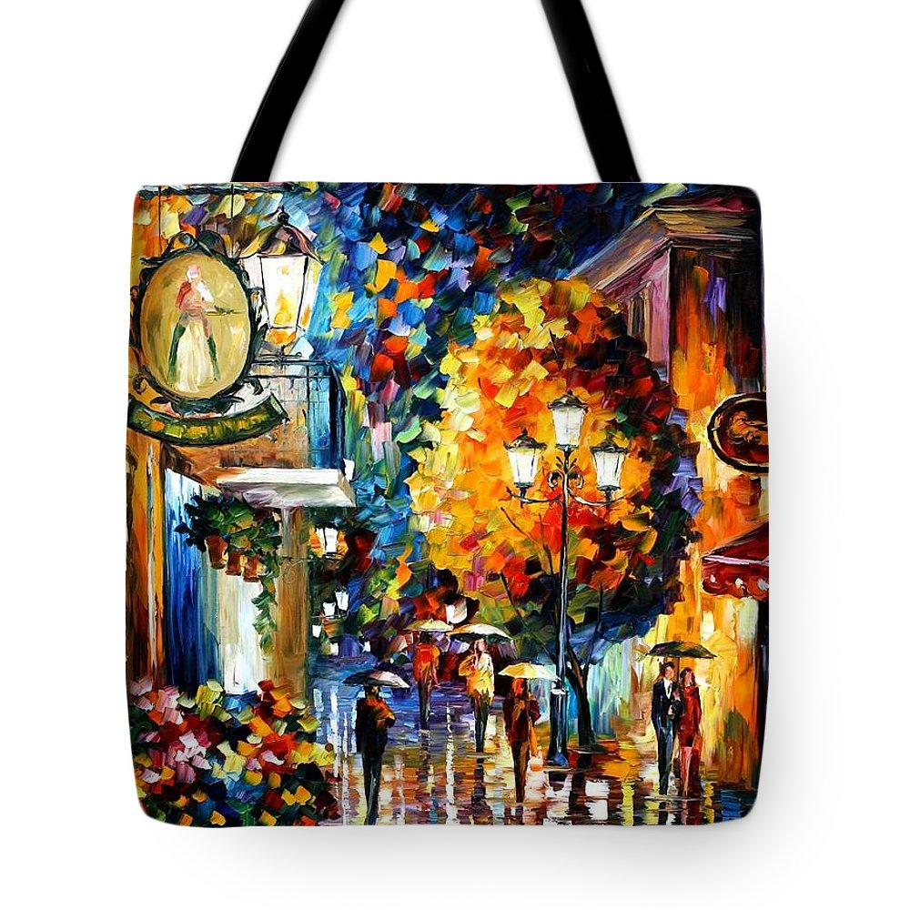 Afremov Tote Bag featuring the painting Cafe In The Old City by Leonid Afremov