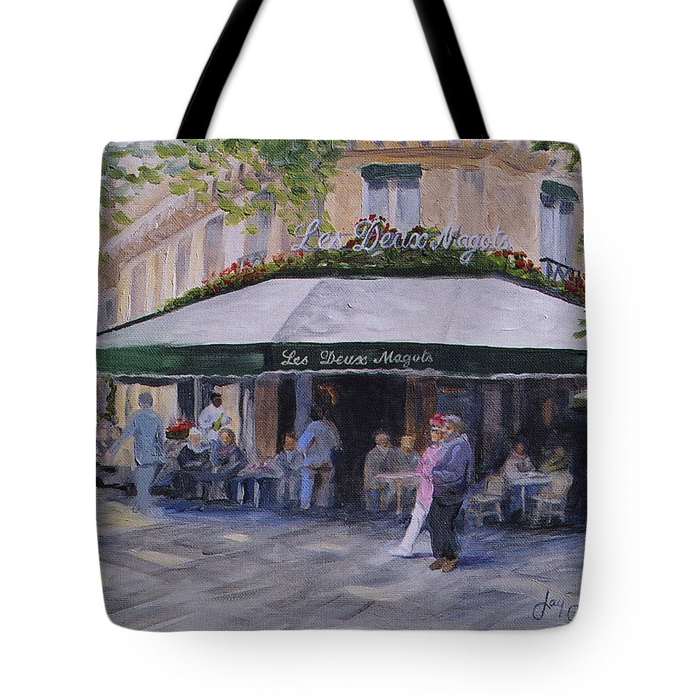 Cafe Magots Tote Bag featuring the painting Cafe Magots by Jay Johnson