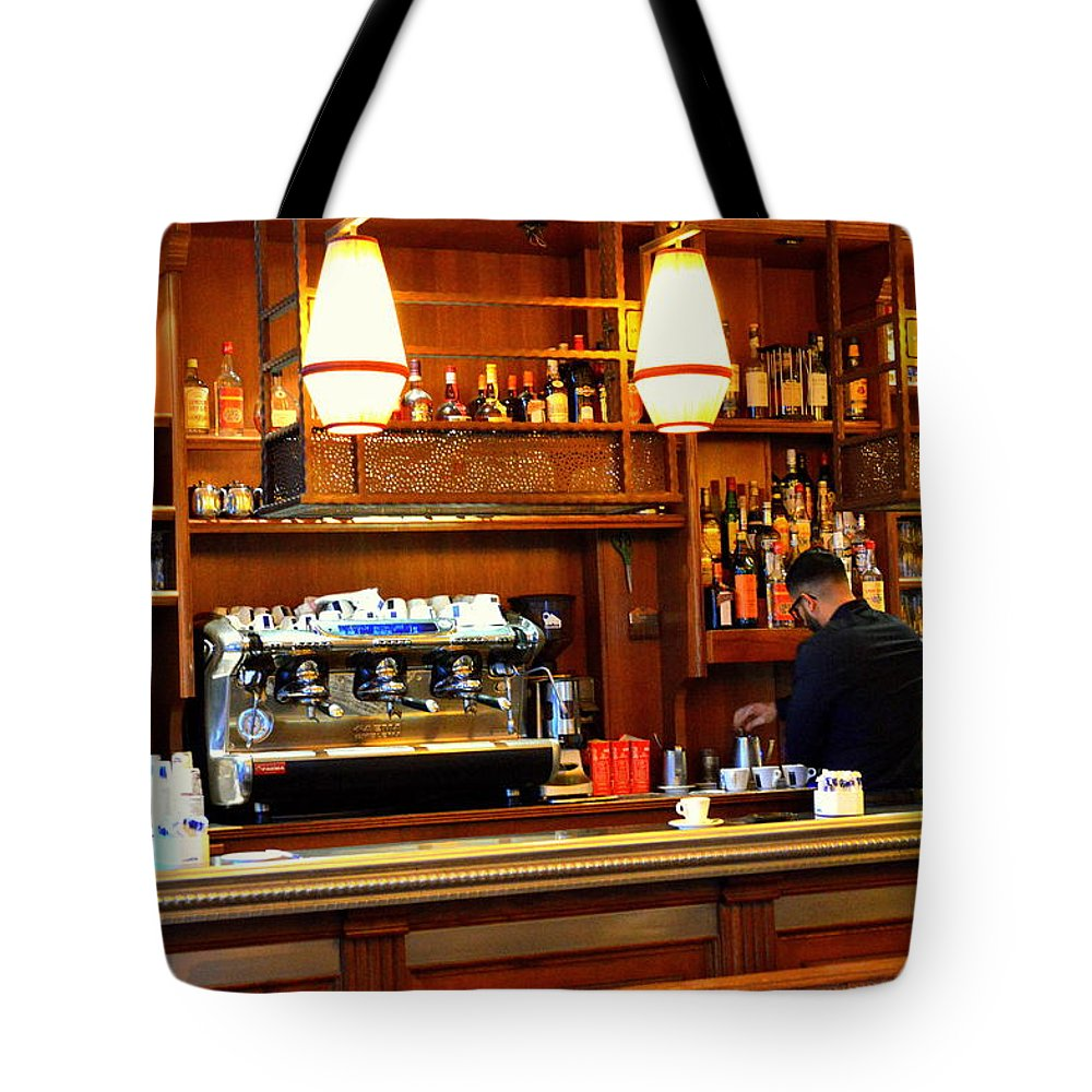 Parisian Coffee Bar Tote Bag featuring the photograph Cafe by Marla McPherson