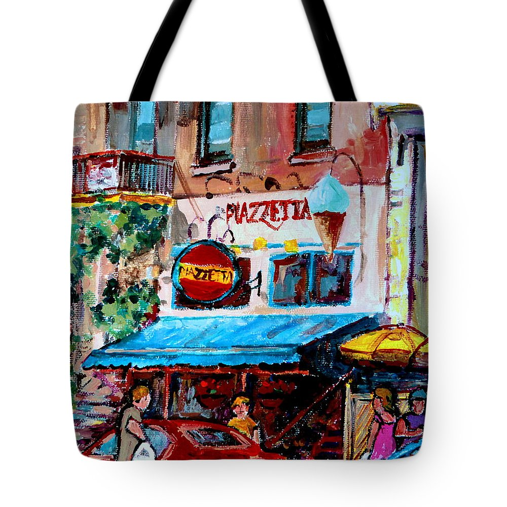 Cafes On St Denis Paris Cafes Tote Bag featuring the painting Cafe Piazzetta St Denis by Carole Spandau