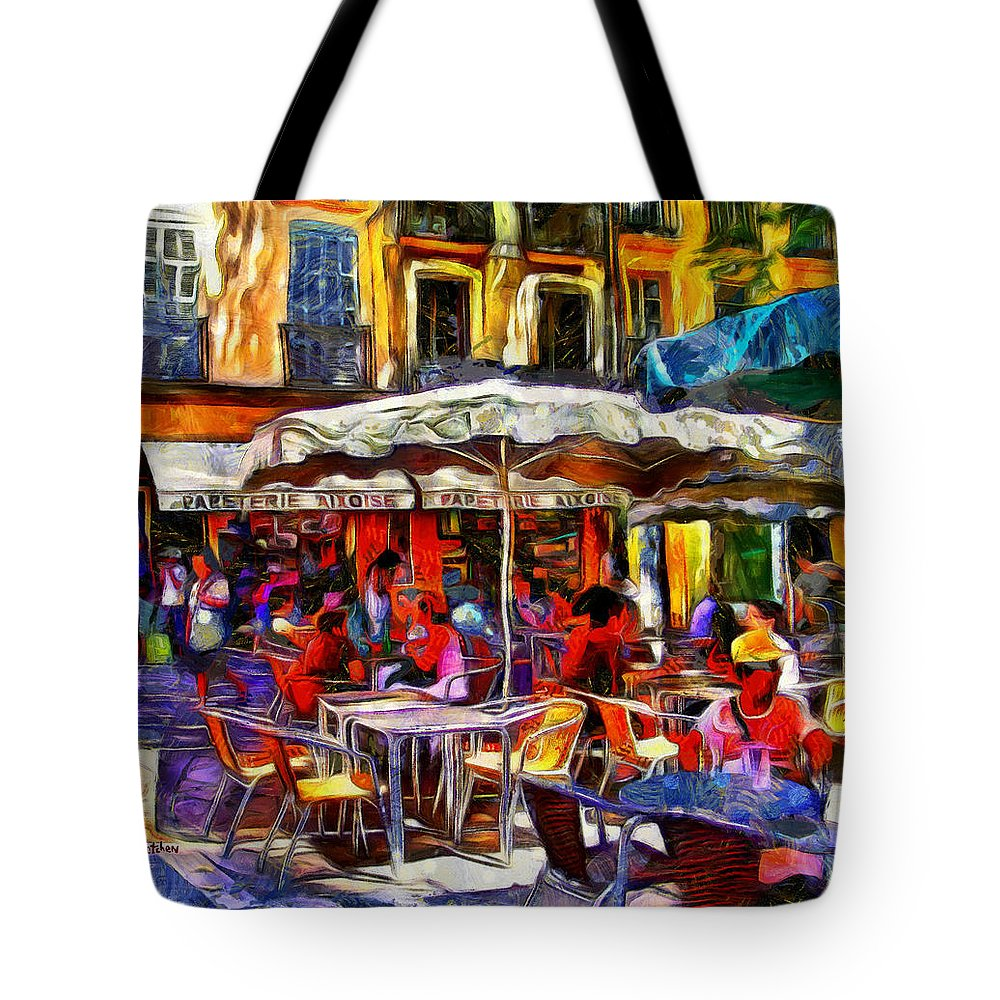Provence Tote Bag featuring the digital art Cafe Provence by PhotoArt By Gretchen