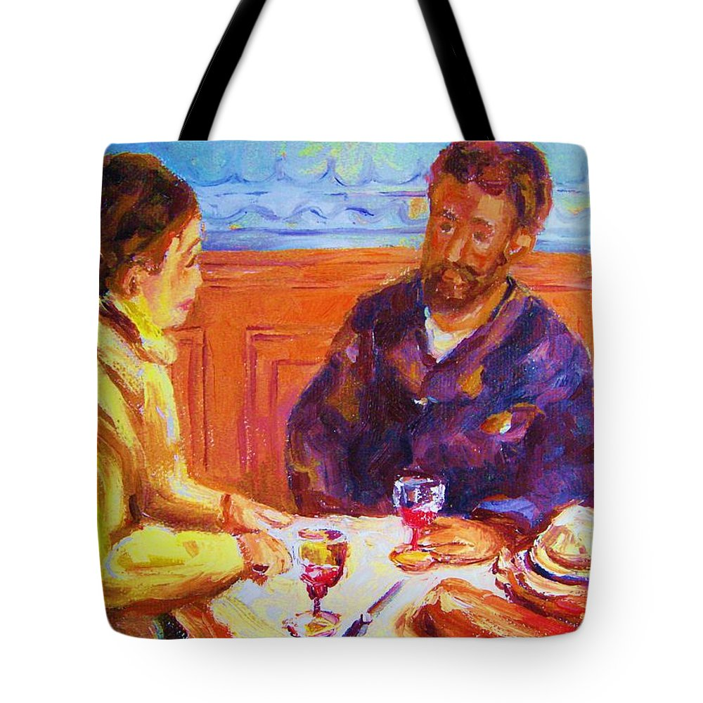 Cafes Tote Bag featuring the painting Cafe Renoir by Carole Spandau