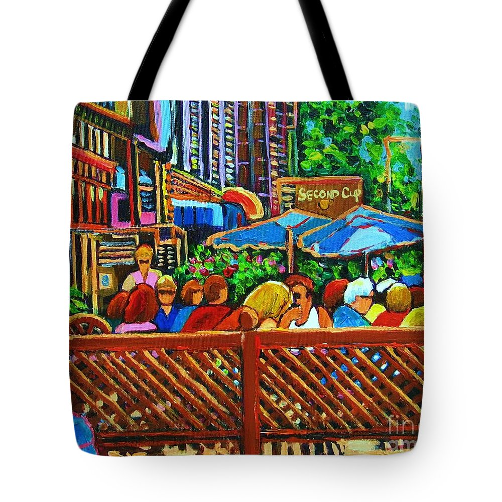 Cafes Tote Bag featuring the painting Cafe Second Cup by Carole Spandau