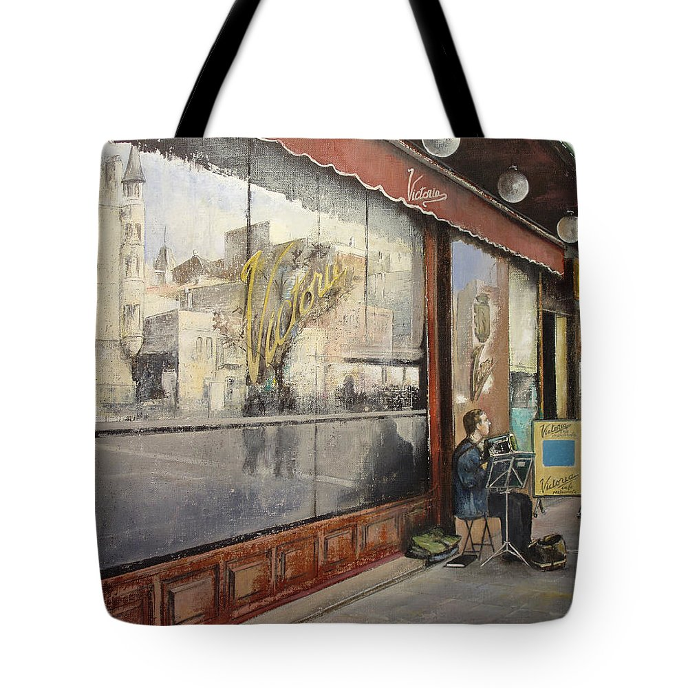 Cafe Tote Bag featuring the painting Cafe Victoria by Tomas Castano