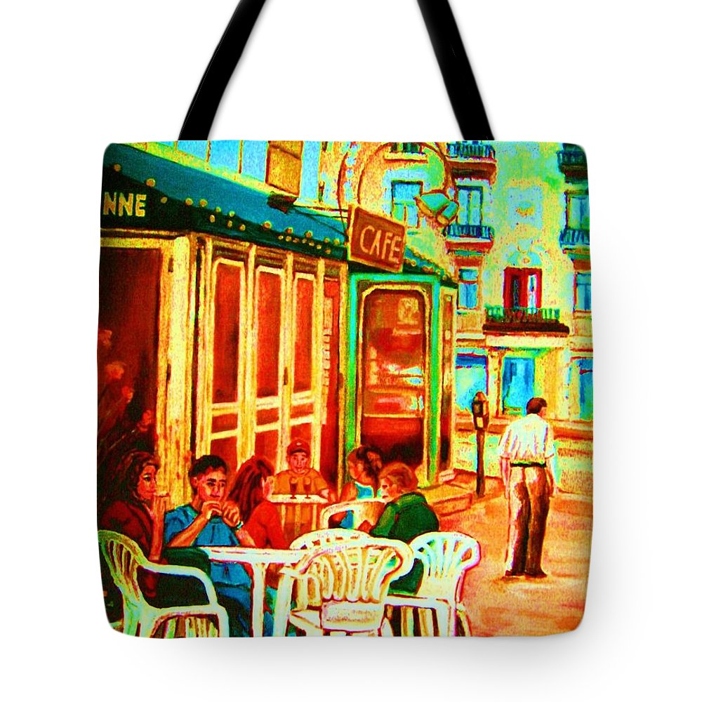 Cafes Tote Bag featuring the painting Cafe Vienne by Carole Spandau