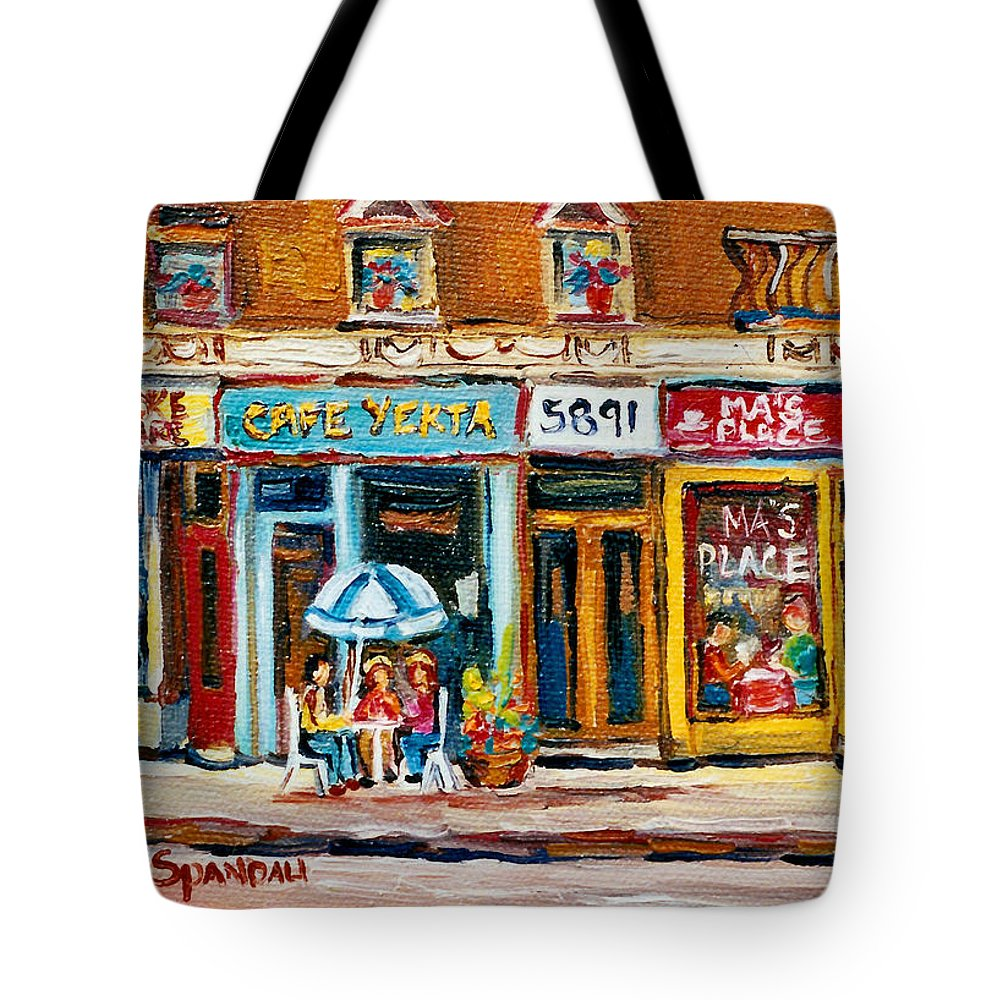 Cafes Tote Bag featuring the painting Cafe Yenta And Ma's Place by Carole Spandau